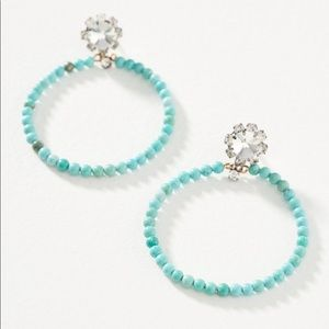 Anthropologie Turquoise and Brass Hoop Earrings
